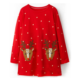 Jumping Meters Girls Dresses Reindeer Appliques 2018 Autumn Winter Baby Girl  Clothes Kids Long Sleeve Dress Princess Costume b498eaa2c042