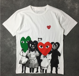 Wholesale Model Heart - 2018 spring and summer new plays Japanese children's cotton love hearts t-shirt men and women models lovers primer shirt