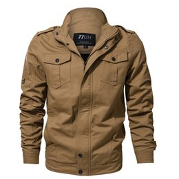 Wholesale mens military cotton jacket - New Mens Military Jacket Free Shipping 3 Colors Slim Fit Jackets for Male Plus Size Thin Zipper Coat for Autumn