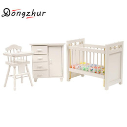 Wholesale Furniture Bedroom Sets - Wholesale-3pcs set Dongzhur Bedroom Furniture Wooden Crib Bed Baby Chair Cabinet 1:12 Scale Dollhouse Miniatures Kids DIY Doll House
