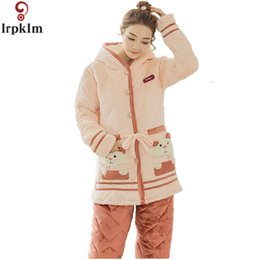 Wholesale Womens Warm Pants - New Arrival Womens Winter Pajamas Sets Warm Coral Fleece Pyjamas For Autumn Winter Hooded Coat And Pants Homewear M-XL SY648