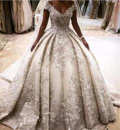 Wholesale Crystal Flower Black - Princess Rhinestones Lace A Line Wedding Dresses 3D Flower Appliques Off Shoulder Crystals Bridal Gowns Long Cathedral Train vestidos largos