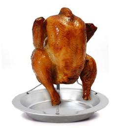 rostfreie bbq platten Rabatt Türkei Entenhalter Rack Grill Tablett Edelstahl Huhn Ständer Platte Backen Braten BBQ Rib Backen Grill für Thanksgiving