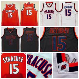 Wholesale Ncaa Orange - Men's Syracuse College NCAA #15 Carmelo Anthony Jersey Orange Black White Carmelo Anthony Stitched Basketball Jerseys Free Shipping