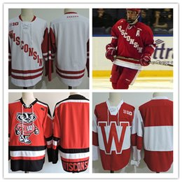 Wholesale Red Tens - Mens NCAA Big ten Wisconsin Badgers College Hockey Jerseys adults White Red Stitched Wisconsin Badgers Jersey S-3XL