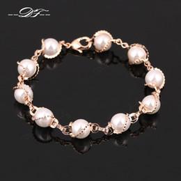 Бразильский браслет из розового золота онлайн-Vintage Simulated Pearl Bead Charm Bracelets & Bangles Wholesale Rose Gold Color Fashion Retro Jewelry For Women DFH171
