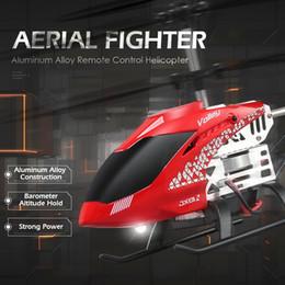 Helicóptero de control remoto de aleación online-2018 nuevo poder fuerte RC Helicóptero Barómetro altitud mantener aleación de aluminio caza aérea 2.4 GHZ control remoto juguetes Boy's regalo JXO1