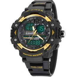 Wholesale glass swimming - DZINER 8078 men's GMT dual display watch, analog digital relogio waterproof swim wristwatch, led military watch, gift watch for men