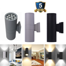 Wholesale head cylinders - Up Down LED Wall Light Dual-Head Cylinder 6W 12W 18W 24W IP65 Waterproof Wall Lamp Outdoor AC 85-265V