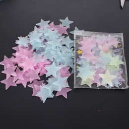 Wholesale Decal Paper Wholesale - Glow Wall Stickers Decal Baby Kids Bedroom Home Decor Color Stars Luminous Fluorescent 3D stiker 3 clors IB689