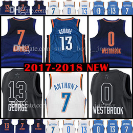 Wholesale 13 basketball jersey - 2018 New Men's 13 Paul George Jersey 0 Russell Westbrook 7 Carmelo Anthony Basketball Jerseys All Star