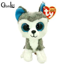 Wholesale White Dog Stuffed Animal Wholesale - GonLeI 15cm 2015 Hot Sale Ty Beanie Boos Big Eyes Husky Dog Plush Toy Doll Stuffed Animal Cute Plush Toy Kids