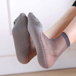 Wholesale Thin Ladies Socks - 1 Pair Spring Summer Women Soft Socks Casual Non-Slip Bottom Splice Fashion Transparent Ladies Girls Thin Silk Sock JL