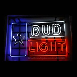 "Wholesale bud light commercials - Bud Light Star Neon Sign Handmade Custom Real Glass Tube Beer Bar KTV Club Disco Restaurant Motel Advertisement Display Neon Signs 24""x20"""