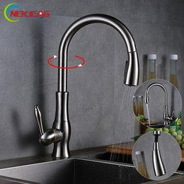 Wholesale Brushed Nickel Pull Out Faucets - Kitchen Faucets Brushed Nickel Single Handle 360 Degree Rotation Hot and cold Pull Out water tap