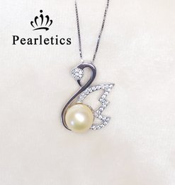 Wholesale Pendant Mounts Settings - cubic zirconia solid sterling silver pedant setting, gorgeous swan pedant mounting without chain, pedant blank without pearl, jewelry DIY