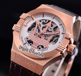 Wholesale Mm Racing - Best Version Maserati Potenza R8821108002 Rose Gold Skeleton Big Maserati Logo White Dial Automatic Mens Watch Leather Sport Racing Car 5b2