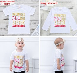 "toddler girl christmas shirts Promo Codes - ""Promoted to Big Sister 2019"" INS Gold Letter Print White long short sleeved Kids Baby Girls Toddler 100% Cotton T-shirts Tops Tees 2-7Years"