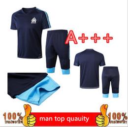 Wholesale marseille football kit - 17 18 New Marseille 3 4 Short sleeve pants kit 2018 L.GUSTAVO Maillot de Foot Payet football shirt kit Olympique de Marseille tracksuit