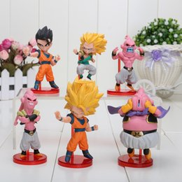 Wholesale buu figure - 6pcs set 8cm Q Dragon Ball Z Majin Buu Gotenks Saiyan Son Goku PVC Action Figures Collectible Toys