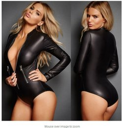 Wholesale Women S Clothing Sex - Sexy Europe Underwear PU Leather Leotard Lingerie Leather shaping Sex Erotic Clothes Bandage Dance Club Wear
