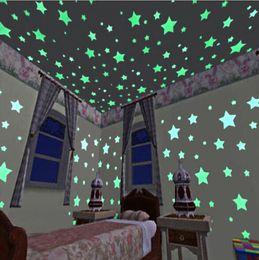 Décoration design chambre en Ligne-Lumière de nuit étoile Stickers muraux lumineux fluorescent amovible lueur dans le noir Stickers muraux bébé enfants chambre décoration de la maison