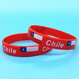 2pcs Chile Flag Sport Wristbands Sport Match Silicone Wrist Band Men ID  Bracelets Bangle Souvenir Jewelry Accessories 2018 d4d04eb3f