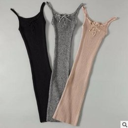 Wholesale Ladies Tight Dresses - Summer womens dress Hot Slim high elasticity hip skirt Knitted Pit Striped Tight Dress Casual daily sexy ladies clothing