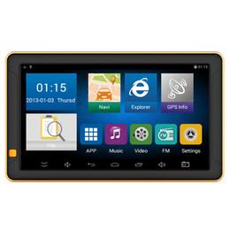Tableta de pantalla táctil de china online-HD 9 pulgadas Auto GPS Pantalla táctil Camión Tableta Coche Navegación GPS 8GB Mapa de por vida Función incorporada de Bluetooth AVIN FM Transmisor