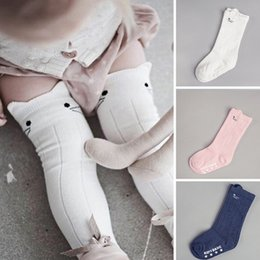 Wholesale High Quality Girls Socks - High Quality Cotton Baby Newborn Socks Animal Printed Knee High Kids Boy Girl Socks Tollder Anti Slip Cartoon Cat Leg Warmers 0-4Y