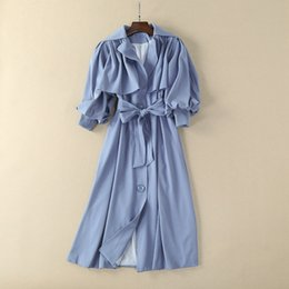 Wholesale Long Spring Trench Coats Women - European and American women's wear in 2018 The new spring The lantern sleeve lapel flounce Trench coat