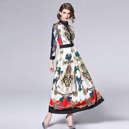 Argentina 2018 Nuevo Diseñador Runway Dress Señora Summer High Quality Print Turn-down Collar Manga Larga Delgado Mujer Piso Longitud Maxi Dresses Suministro