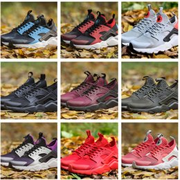 Wholesale fishing rubbers - Newest 2018 Huarache IV Running Shoes For Men Women, Black White High Quality Sneakers Triple Huaraches Jogging Sports Shoes Eur 36-46
