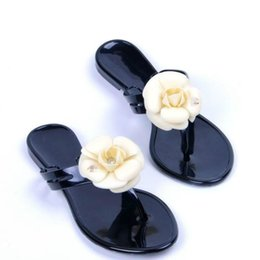087c354a67ae33 New Summer women s floral slippers female s flip flops flowers slippers pvc sandals  Camellia Jelly Shoes beach shoes