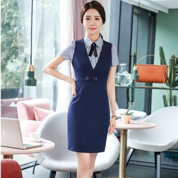 Wholesale navy dress uniform - Uniform Styles Formal 2 Piece With Dress And Blouses Slim Fashion Summer Business Work Wear EleBlazers Sets Navy Blue