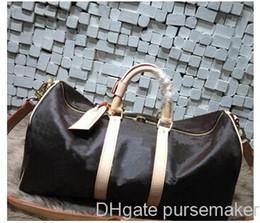 Maletas de mujer vintage online-diseñador de la calidad bolsa de viaje Hombres Mujeres Duffle bolsas verdadera oxidan damier cuero de la vendimia keepall 55 cm bolsos de equipaje con cerradura y llave 41414