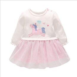 herzförmige kleider Rabatt Baby Mädchen Kleid Einhorn gedruckt Kleider Langarm Kleid mit herzförmigen Stickerei Mädchen Frühling Herbst Rock Designer Kids Rock LM47