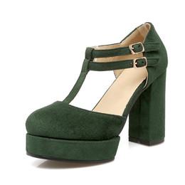Canada Femmes talons hauts plate-forme sandales T sangle d'été décontracté troupeau bout rond couverture dames chaussures CerdaChic noir rouge vert cheap green high heels platform shoes Offre