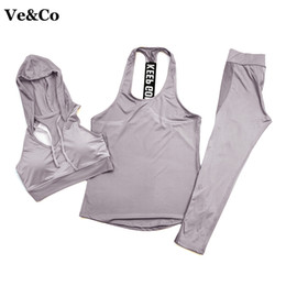 Wholesale Dry Suits For Women - 2018 Ve&Co (3pieces set ) Yoga Sets Autumn Winter Sport Suit Jogging Suits For Women Quick Dry Sport Bra + Pant+Gym Fitness Vest