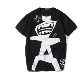 2019 camisas grandes elegantes Camisetas Elegantes Homens Verão Branco Preto tEES Moda Robô de Impressão Design de Manga Curta Tops Tamanho Grande T-shirt camisas grandes elegantes barato