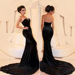 f2576e1939a 2018 Arabisch Einfachen Stil Schwarz Samt Abendkleider Schatz Zipper Zurück  robe de soiree Formal Prom Kleider Sweep Zug