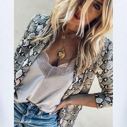 chaquetas de un solo botón para mujer Rebajas 2018 Mujeres Inglaterra Estilo Serpiente de Impresión Blazer Bolsillos Muesca Collar de Manga Larga Abrigo blazer mujer Chaqueta Ropa de abrigo Mujer