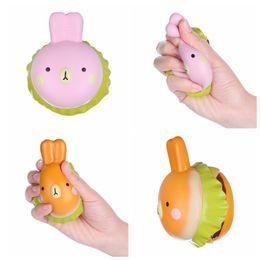 Wholesale squishy bunny - Jumbo Kawaii Rabbit Hamburger Bunny Slow Rising Soft Burger Stress Relieve Toy Squishy Squeeze Simulation Toys DDA214