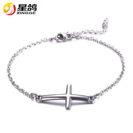 Wholesale Christian Cross Bracelets - Jesus Christian Womens Mens stainless steel Cross charms Bracelets Silver Religious Trendy Chain Bracelet Lucky Jewelry Wholesale