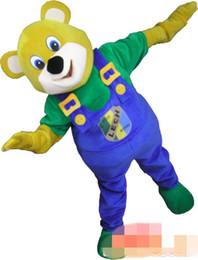 Wholesale yellow bear costume - Custom LECH Bear mascot costume Adult Size free shipping