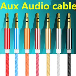 Wholesale Car Aux Cables - Braided Aux Audio Auxiliary Cable 1.2m 3.5mm AUX Extension Male to Male Audio Cable 1.2M Stereo Car Nylon Cord Jack For Digital Device