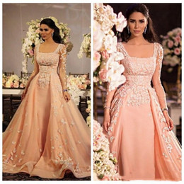 Wholesale indian long evening dresses - 2018 Cheap Arabic Indian Long Sleeves Women Prom Dresses Formal Evening Dress With Lace Applique Square Zipper Satin Tulle Prom Party Gowns