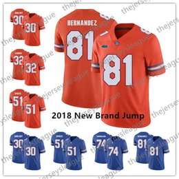 gator football jerseys Coupons - Florida Gators 2018 New Brand Jump #81 Aaron Hernandez 30 DeAndre Goolsby 32 Adarius Lemons Blue Orange Stitched NCAA Football Jerseys