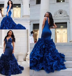 Wholesale girls mermaid blue skirt - 2018 African Black Girl Royal Blue Mermaid Prom Dresses Sexy Deep V Neck Sleeveless Ruffles Organza Skirt Formal Party Dresses Evening Wear
