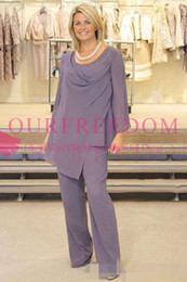 Wholesale Mother Groom Outfits - .Plus Size Lavender Mother Of The Bride Pant Suits Long Sleeve Chiffon Beads Wedding Guest Groom Dress Two Pieces Mothers Outfit Long Garmen